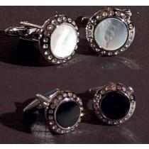 Butoni Chrisanne argintii cu cristale