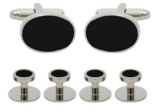 Set butoni negru/argintiu