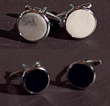 Butoni argintiu cu alb/negru