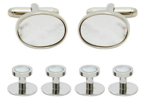 Set butoni alb/argintiu