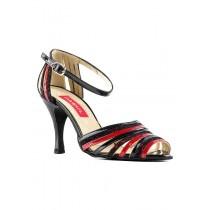 Pantofi tango Paoul 183 Rosu & Negru, toc 8 cm, marimea 37
