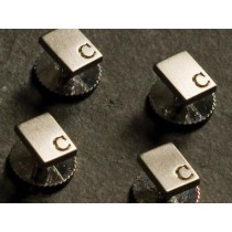 Dress studs x 4 with logo - Silver