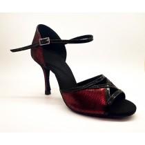 Pantofi tango Rummos Rosu & Negru, toc 8 cm, marimea 37